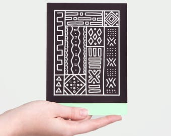 "Mud Cloth Card - Seafoam | 5x7"" (A7) | Tribal, African, Ethnic, Pattern, Black and White, Mali, Line Art, Blank, Arrow, Zig Zag, Geometric"