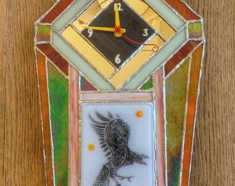 Celtic Raven Deco Fusion Glass Wall Clock