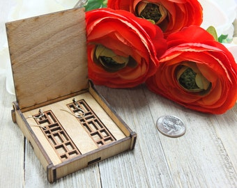 Laser cut wood earrings #21