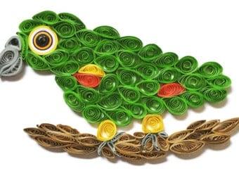 Amazon Parrot Card, Colourful Bird, Pet Parrot Picture, Aviary Bird, Cage Bird Art, Quilled  Parrot, Paper Artistry, Parrot Sculpture
