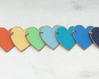 Micro rainbow wooden bunting