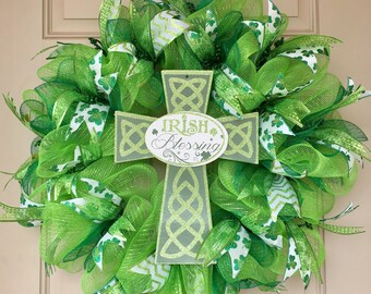 St. Patricks Wreath with Glittered Irish Blessings Cross