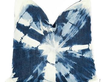 Denim Shibori Adoption Adopt Together Fund Raiser Cotton Indigo Denim Blue & White Throw Kids Pillow W/ Leather