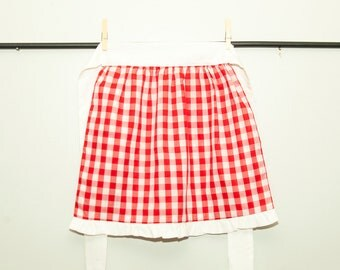 Children's red gingham Apron