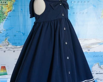 Vintage Girls Sailor Dress / Navy Blue Sailor Dress / Girls Navy Blue Dress / Nautical Girls Clothing / Girls Size 6 Dress / Size 6 Dress