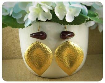 Vintage Maroon Bead Brass Stamp Earrings