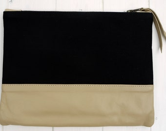 Leather & Canvas Clutch