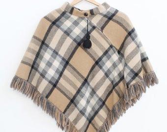 Vintage Brown Plaid Wool Zip Up Cape