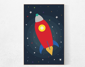 Kids room decor rocket ship, outer space nursery, outer space art, outer space kids, outer space decor, space nursery decor toddler kid room