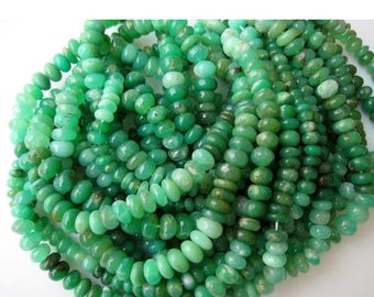 ON SALE 50% Chrysoprase Rondelle, Chrysoprase Beads, Shaded Chrysoprase, Rondelle Beads, 7mm Beads, Half Strand 8 Inches, 46 Pieces