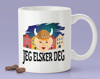 Norwegian Lovers Mug - Viking [Gift Idea For Him or Her - Makes A Fun Present] I Love You Norwegian Mug - Norway / Jeg Elsker deg
