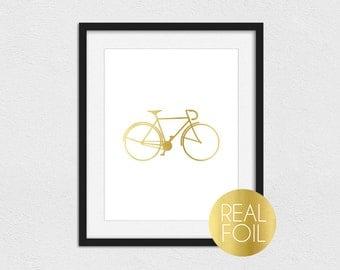 Bicycle Foil Print // Gold Foil // Rose Gold Foil // Silver Foil // Road Bike Foil Print // Road Bicycle Foil Print // Bicycle Print