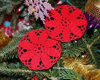 SET of 2 crochet coasters crochet doilies red coasters red doilies crochet item interior design kitchen decor valentine's doilies placemat