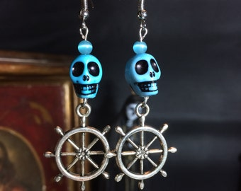 Blue skull earrings and bar nautical rockabilly