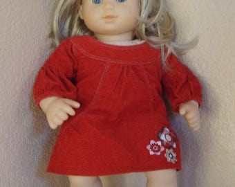 American Girl Doll Bitty Baby Blue Eyes Blond Hair Vinyl & Cloth Red Dress 15""