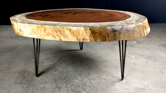Custom Guanacaste Round Coffee Tables with Hairpin Legs