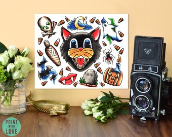 Halloween Tattoo Flash American Neo Traditional Vintage Tattoo Art Spooky Pumpkin Autumn Candy Corn Cat Watercolor Print