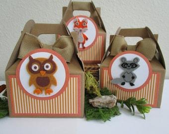 Woodland Animal Favor Boxes, Favor Boxes, Birthday Favor Boxes, Girl Birthday Favor Boxes, Boy Birthday Favor Boxes, Animal Favor Boxes.