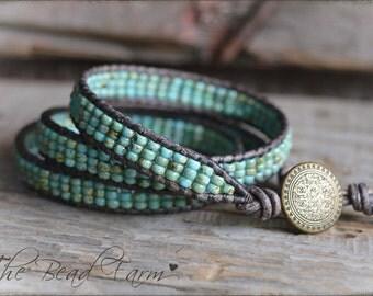 Beaded Wrap Bracelet, Leather Wrap Bracelet, Wrap Bracelets, Wrap Cuff Bracelet, Triple Wrap Boho Bracelet, Boho Triple Wrap Bracelet