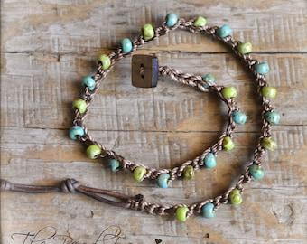Beaded Anklet, Crocheted Anklet, Beaded Crochet Jewelry, Boho Beach Jewelry, Crochet Beaded Anklet, Crocheted Jewelry