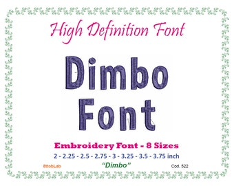 Embroidery font dimbo 8 size
