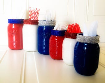 Fourth of July Barbecue Set July 4th BBQ Decor Red White and Blue Utensil Holders Painted Wide Mouth Quart Mason Jars Pint Size Painted Jars