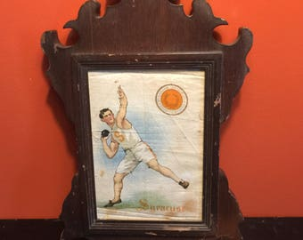 Antique Syracuse University Track and Field Tobacco Silk, Frame, 1920s