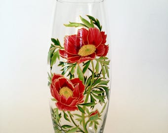 Holiday Present Hand Painted Vase Colorful Glass Home Decor Idea Gift for Mom Wife Sister Flower Vase Spring Flowers Red Peonies Floral Vase