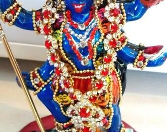 hindu goddess kali silver decorated enamelled statue