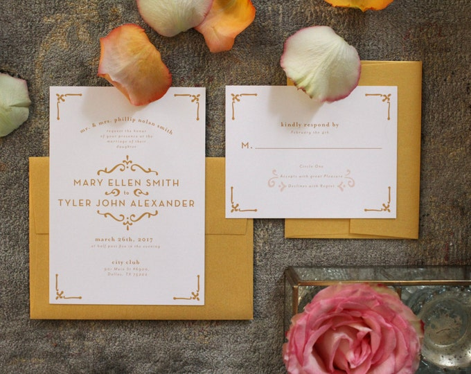 PRINTABLE Wedding Invitation Suite | Timeless Love in White & Gold