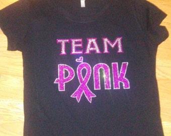 Team pink rhinestone bling tshirt