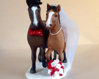 Equestrian Bride and Groom Cake topper