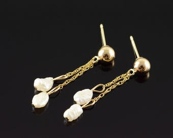 14k Hollow Ball Pearl Dangle Stud Earrings Gold