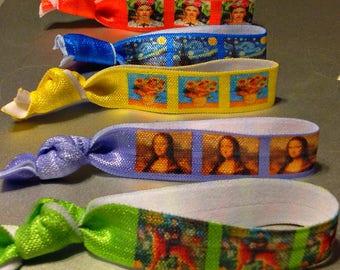 Hair Ties, Art Singles,da Vinci,Mona Lisa,Rousseau,Tiger,more Designer Hair Ties,Elastic Bracelets,Fine Art Masterpieces,Art ,Artsy