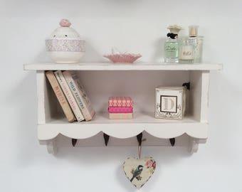 Hand made shabby chic shelf with 4 coat hooks