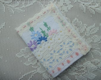 Vintage Embroidered Needle Book with Broderie Anglaise