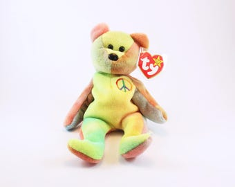 Vintage Original Ty Peace Beanie Baby 1996 Retired RARE, Mint Condition with Good Tags, Bear Beanie Baby, free shipping