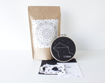 Libra Embroidery Set With Supplies & Easy to Follow Instructions Stylish Cross Stitch Birthday DIY Zodiac Kit Handcrafted Gift Star Sign