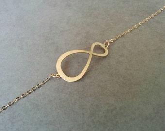 Gold Charm Bracelet, Charm Bracelet, Girls Bracelet, Infinity Bracelet, Gold Jewellery, Bat Mitzvah Gift, Gift For Girls, Infinity Charm