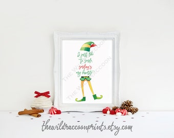 I Just Like To Smile, Smiling's My Favorite, Elf Christmas, Christmas Movie Quote, Elf Watercolor Printable Christmas Quote, Elf Movie 16x20