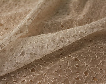 Metallic embroidered Organza Embroidered sheer fabric Daisy embroidery bridal fabric special occasion fabric