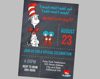 EDITABLE TEXT Dr Seuss Birthday Invitation - Dr Seuss Birthday Invites -  Dr Seuss Birthday Invite- Dr Seuss Invitation -Instant Download