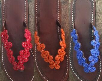 Flowers beaded handmade sandals flip flops summer beads shoes leather
