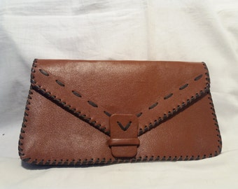 Vintage 1970's Handmade Brown Leather Handbag - Clutch Bag - NEW