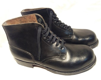 Vintage Black Leather German Soldier Boots / repro / - NEW