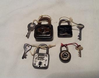 Four Vintage Metal Padlocks with Keys - GERMANY