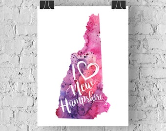 I Heart New Hampshire Map Art Print, I Love New Hampshire Watercolor Home Decor Map Print, NH Giclee State Art, Housewarming or Moving Gift