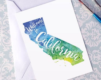 California Watercolor Map Greeting Card, Welcome to California Hand Lettered Text, Gift, Postcard, Giclée Print, Map Art, Choice of 5 Colors