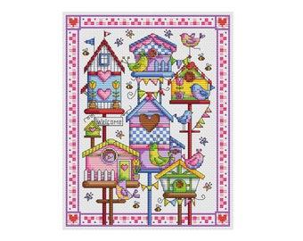 Birdhouse Village - Durene J Cross Stitch Pattern - DJXS2217