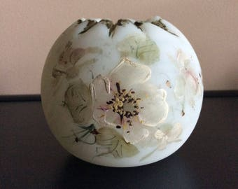 Antique satin glass Rose Bowl hand painted Apple Blossom design perhaps Mt. Washington or Crown Milano Cream white satin with green